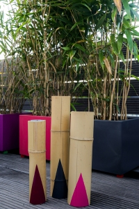 Bambus-Kerzenhalter bemalt