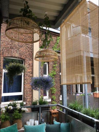 Abgehängte Blumenampeln, Deko & Sichtschutz